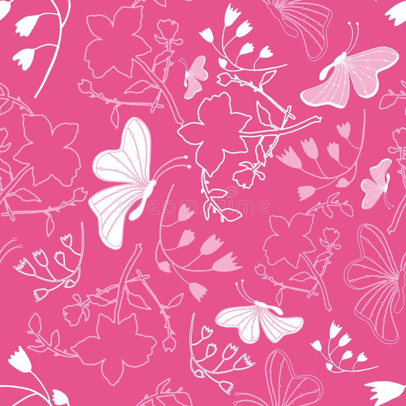 Floral white butterflies Background Pattern vector illustration