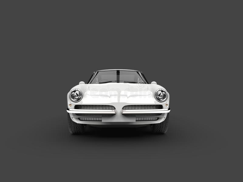 Floral white vintage fast car - front view. Isolated on white background stock illustration