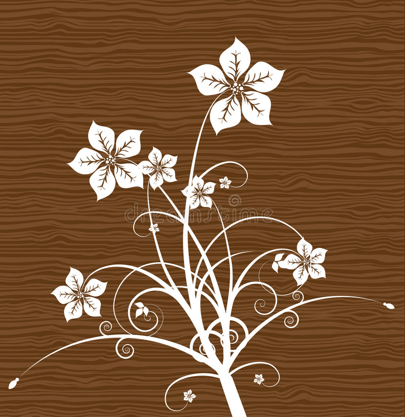 Floral on wood. Vector. royalty free illustration