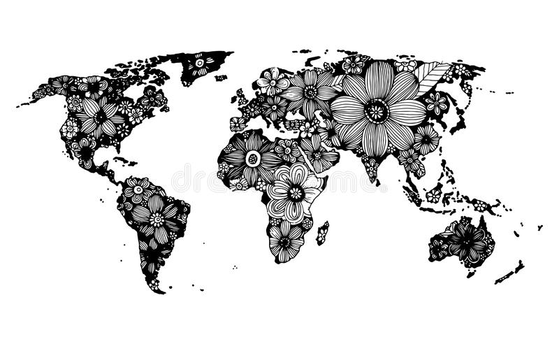 Floral world map, hand drawn, black and white doodle vector illustration