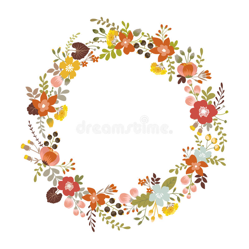 Floral wreath. With autumn ornament. isolated on white