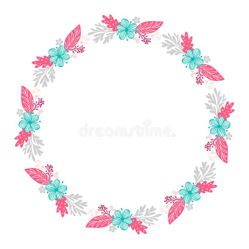 Floral wreath bouquet flowers Botanical elements isolated on white background in Scandinavian style. Hand drawn vector stock illustration