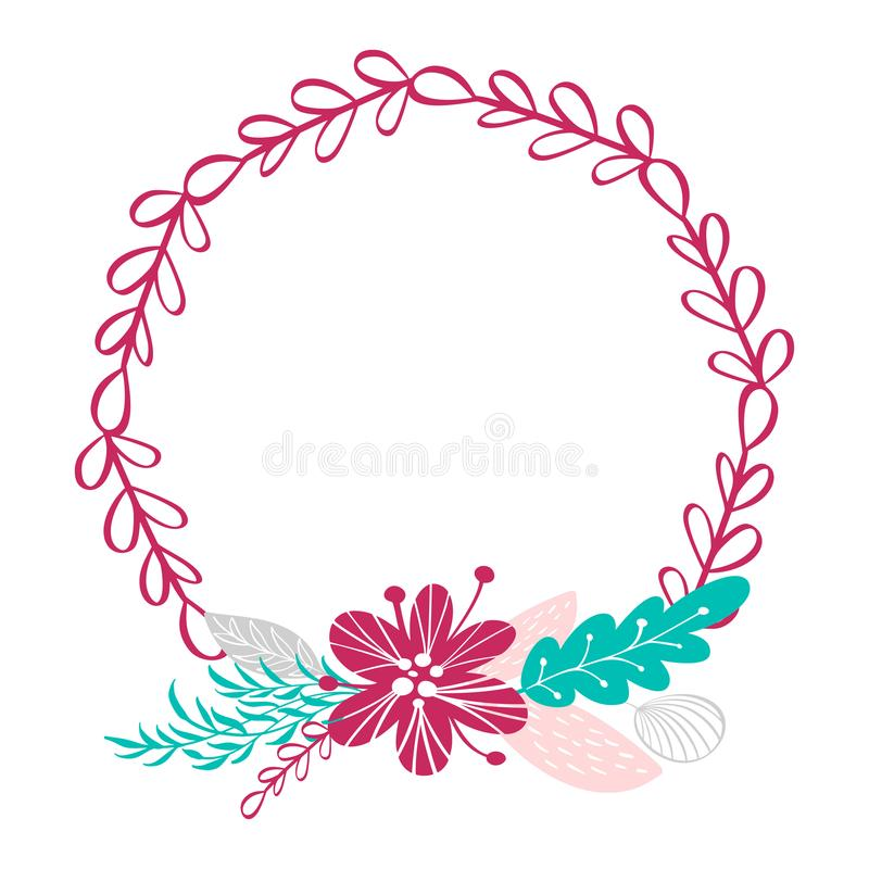 Floral wreath bouquet flowers Botanical elements isolated on white background in Scandinavian style. Hand drawn vector vector illustration