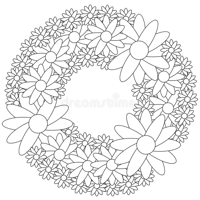 download floral wreath coloring page stock vector illustration of cute damascus 76994379 - Wreath Coloring Page