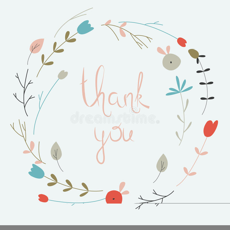 Floral wreath. Cute floral wreath with small flowers in cartoon style. Thank you card stock illustration