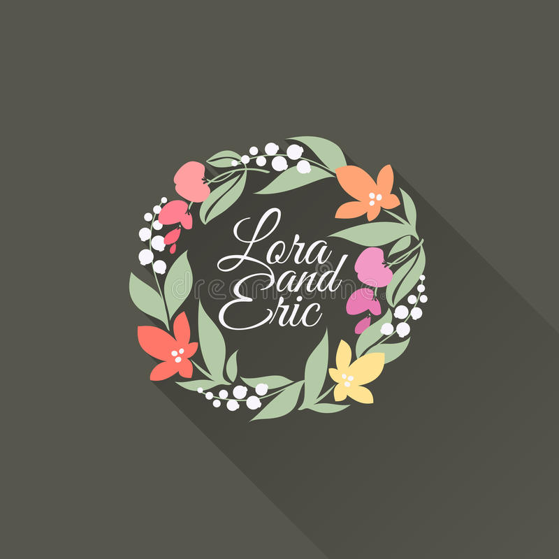 Floral wreath. Flat vector design with long shadow vector illustration