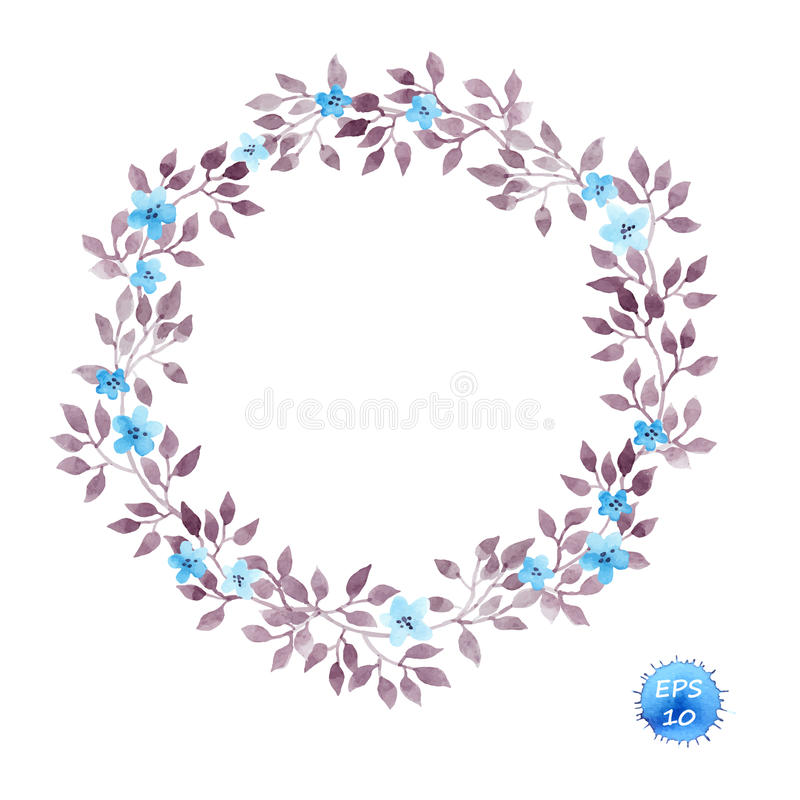 Floral wreath frame with cute flowers and leaves for interior design. Watercolor vector stock illustration