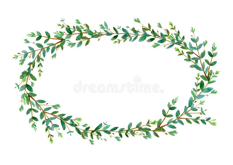 Floral wreath.Garland with eucalyptus branches.Watercolor royalty free stock photography