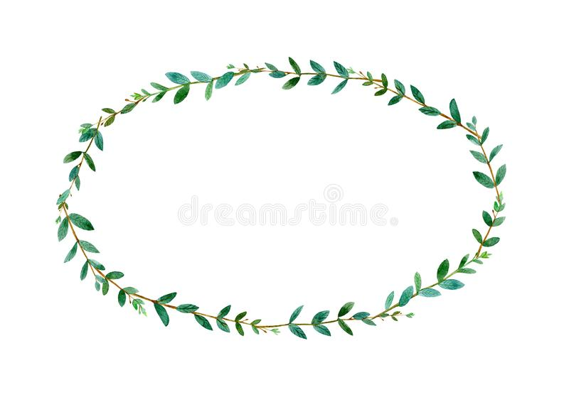 Floral wreath.Garland with eucalyptus branches.Watercolor stock photography