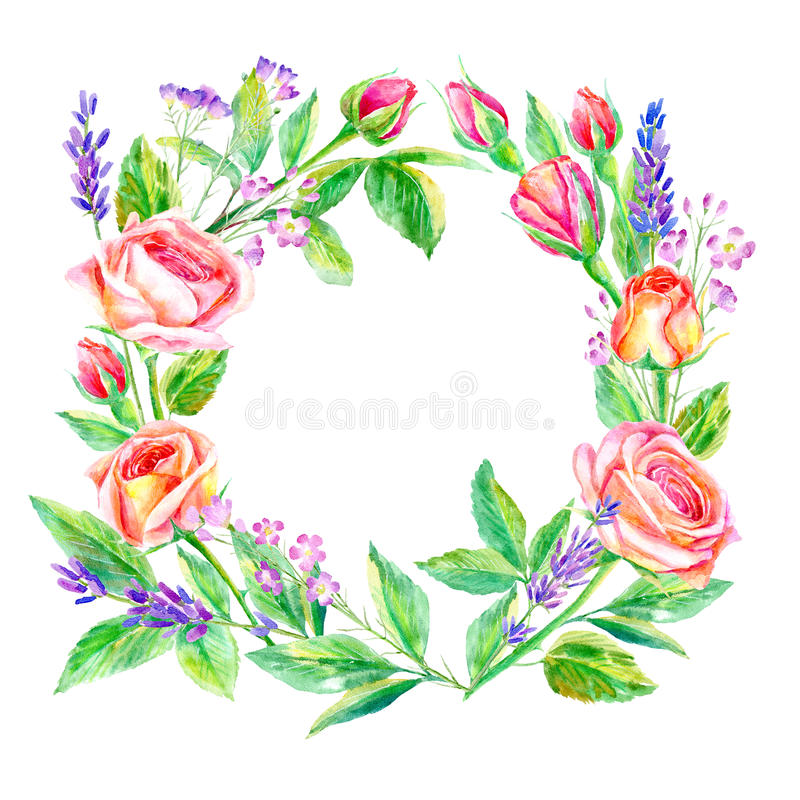 Floral wreath.Garland of a roses branches and lavender. Frame of a herbs.Watercolor hand drawn illustration.It can be used for greeting cards, posters, wedding royalty free illustration
