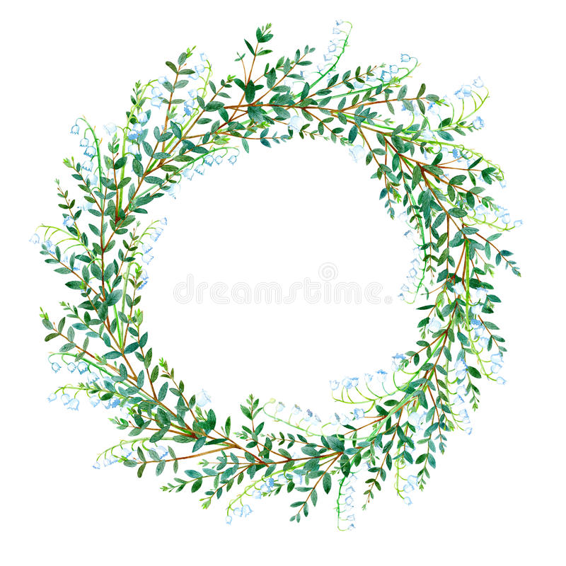 Free Floral Wreath.Garland With Lily Of The Valley And Eucalyptus Branches. Stock Photos - 91495983