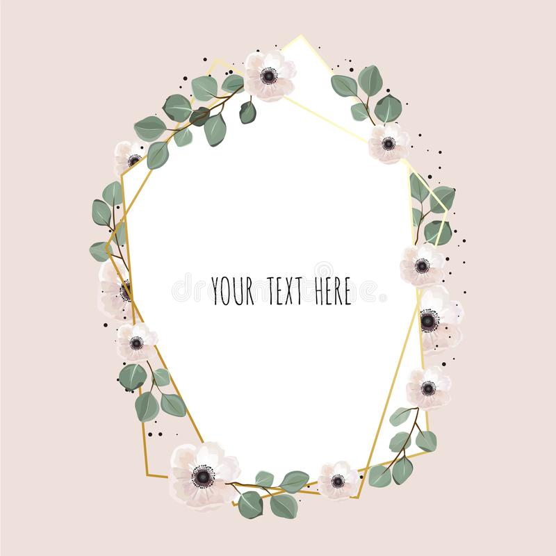 Floral wreath with green eucalyptus leaves. Frame border with copy space. Eps10 vector illustration