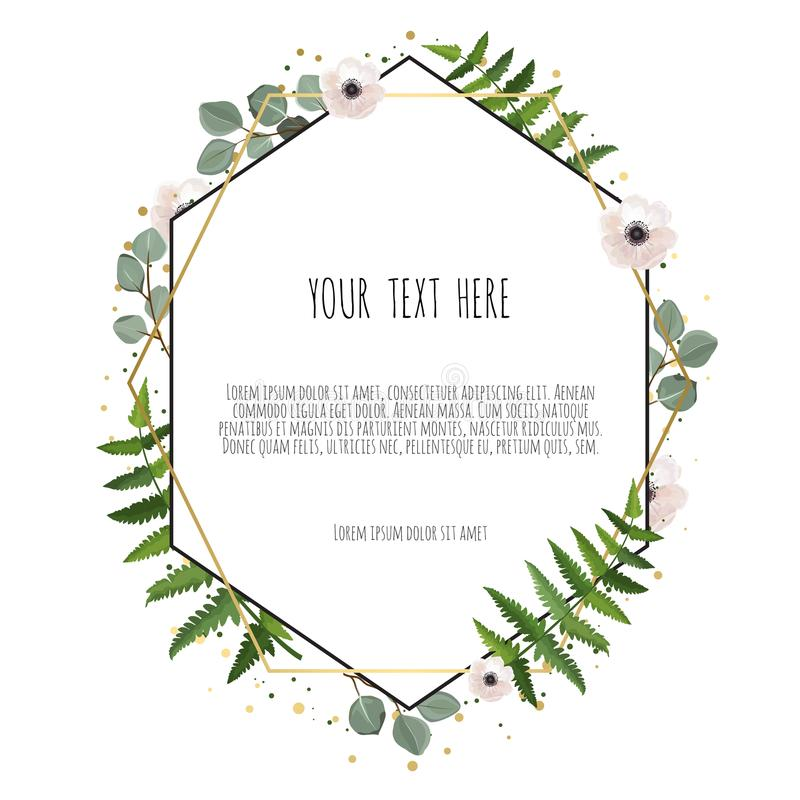 Floral wreath with green eucalyptus leaves. Frame border with copy space. Eps10 stock illustration