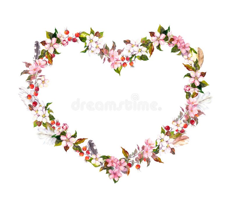 Floral wreath - heart shape. Pink flowers, boho feathers. Watercolor for Valentine day, wedding. Floral wreath - heart shape. Pink flowers and boho feathers stock image
