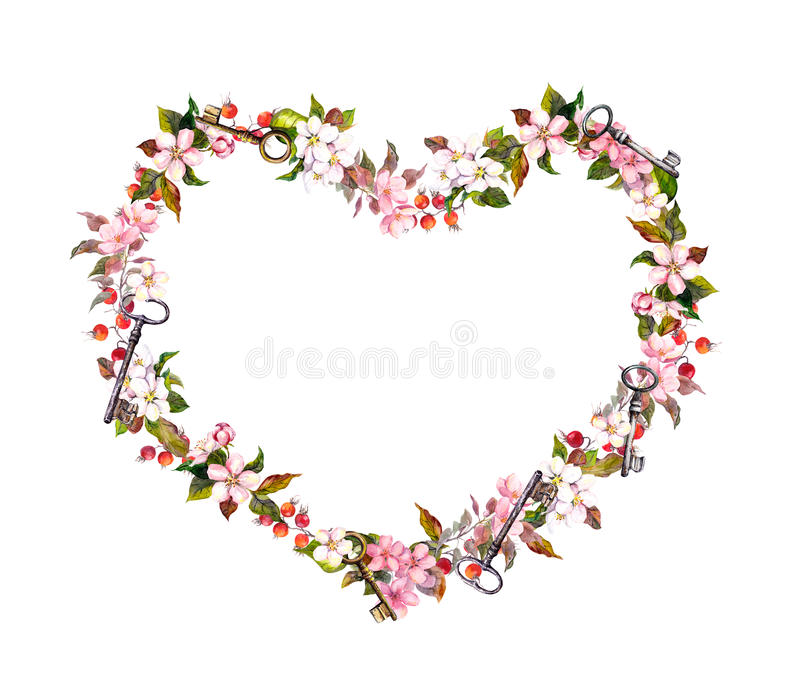 Floral wreath - heart shape. Pink flowers, hearts, keys. Watercolor for Valentine day, wedding. Floral wreath - heart shape. Pink flowers, hearts and keys royalty free stock photography