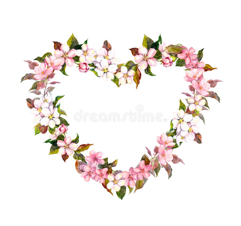 Floral wreath - heart shape. Pink flowers. Watercolor for Valentine day, wedding in vintage boho style. Floral wreath - heart shape. Pink flowers. Watercolor stock image
