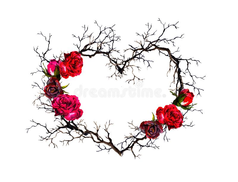 Floral wreath - heart shape. Twigs, rose flowers. Watercolor, gothic style. Floral wreath - heart shape. Twigs, rose flowers. Watercolor in gothic style royalty free stock images