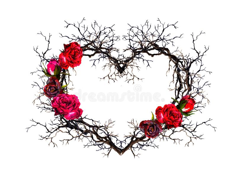 Floral wreath - heart shape. Twigs, rose flowers. Watercolor, gothic style royalty free illustration