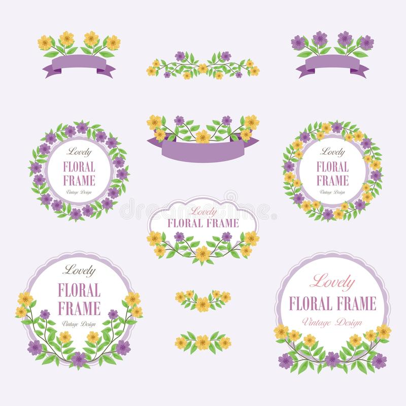 Floral Wreath of Lovely Flowers Design. Suitable for for weddings, Valentines day, birthdays, menu, holidays, baby shower, mothers day, valentines day royalty free illustration