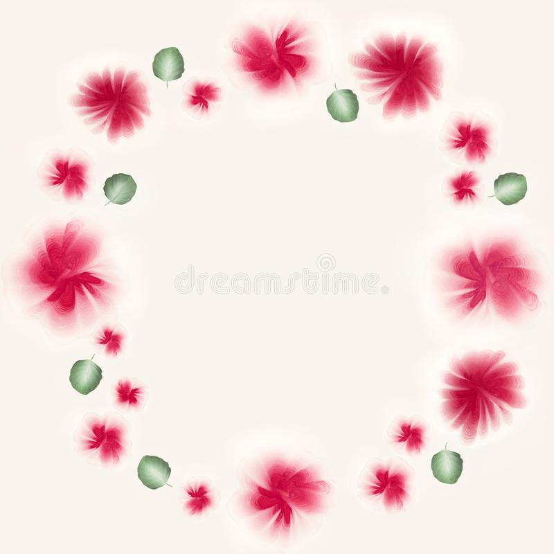 A floral wreath with one stroke gouache flowers and leaves. Place for text, copyspace. vector illustration