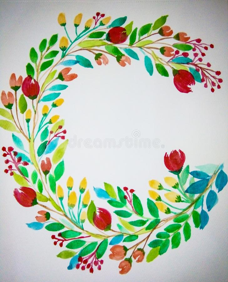Floral Wreath Painting stock image