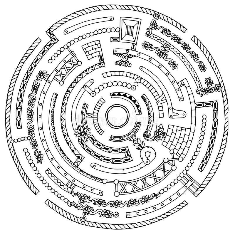 Free Floral Wreath Pattern Labyrinth With Dots, Lines And Flowers. Stock Photography - 71623742