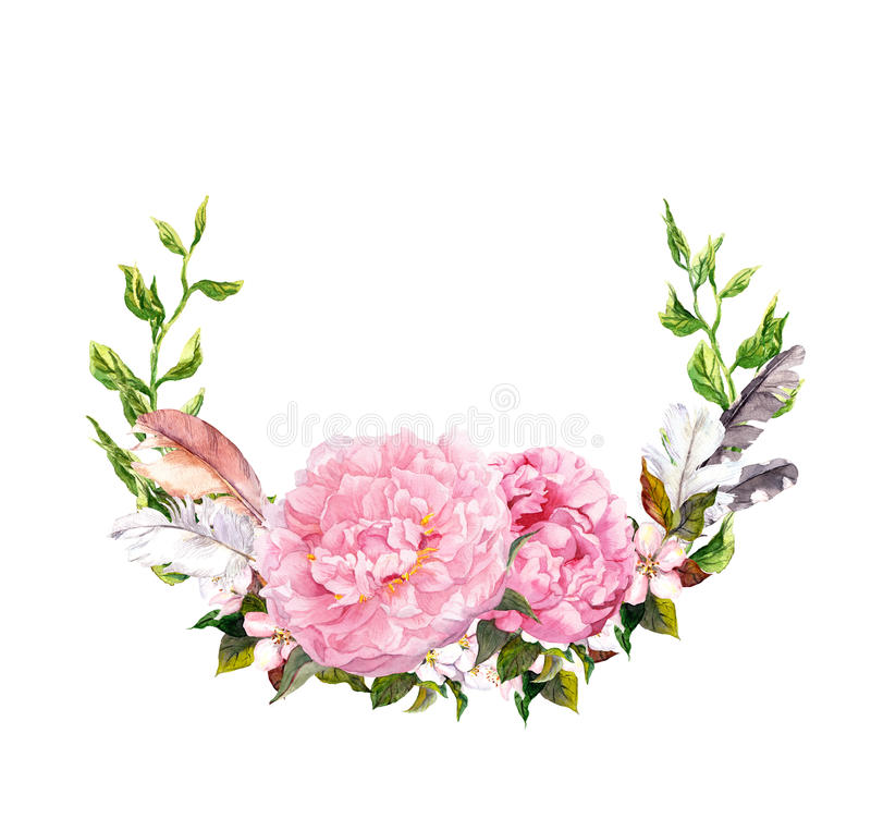 Floral wreath with pink peony flowers, feathers. Romantic card in retro boho style. Watercolor royalty free stock image