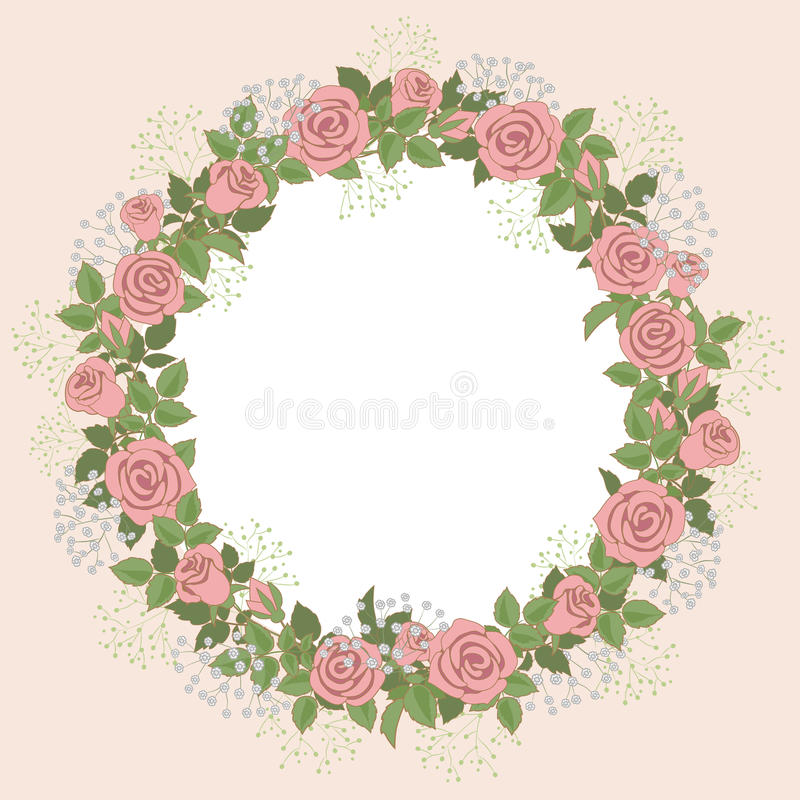 Floral wreath. Of pink roses for wedding invitations and greeting cards royalty free illustration