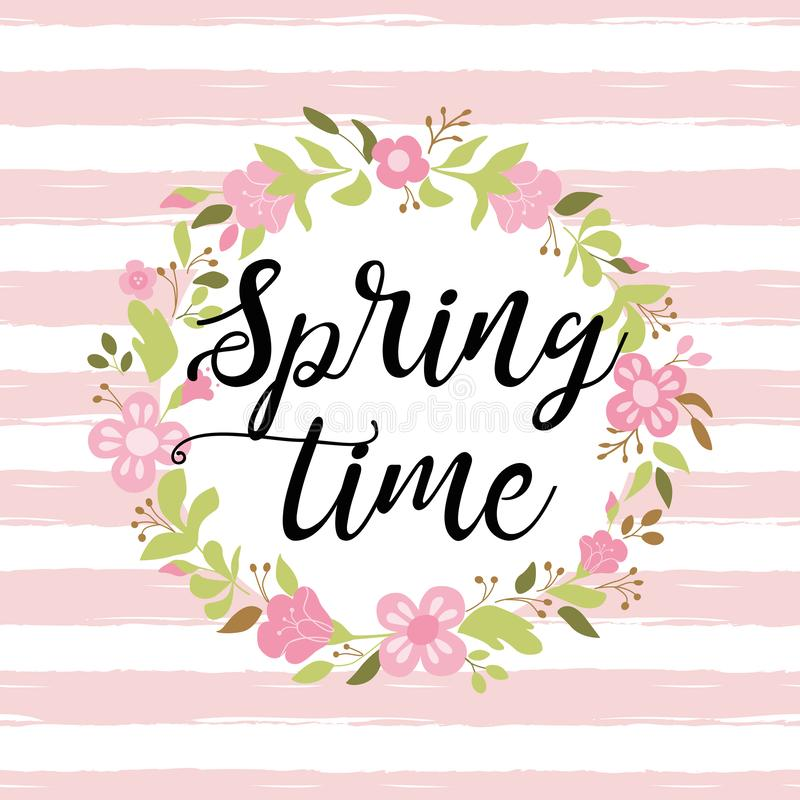Floral wreath on pink striped background Text Spring time Hand drawn vector postcard royalty free illustration