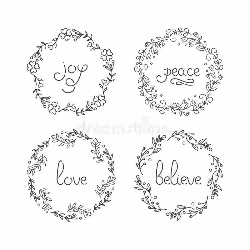 Floral Wreath Set. Line Lettering. Greeting Typography. Stock Vector ...