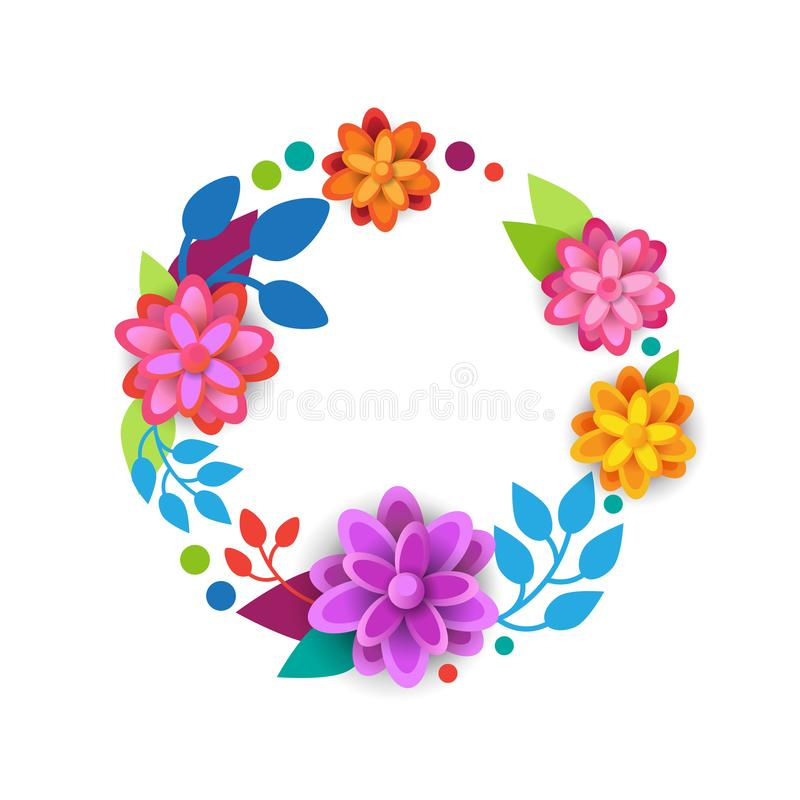 Floral Wreath Spring Graphic Design Element With Colorful Flowers On White Background stock illustration