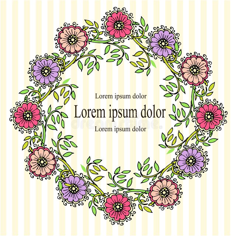 Floral wreath violet, flower, pink, green leaves black outlines on white and yellow striped background stock illustration