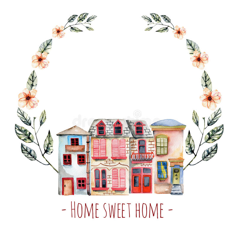 Floral wreath with watercolor english houses, with an inscription ``Home sweet home``. Hand painted isolated on a white background vector illustration