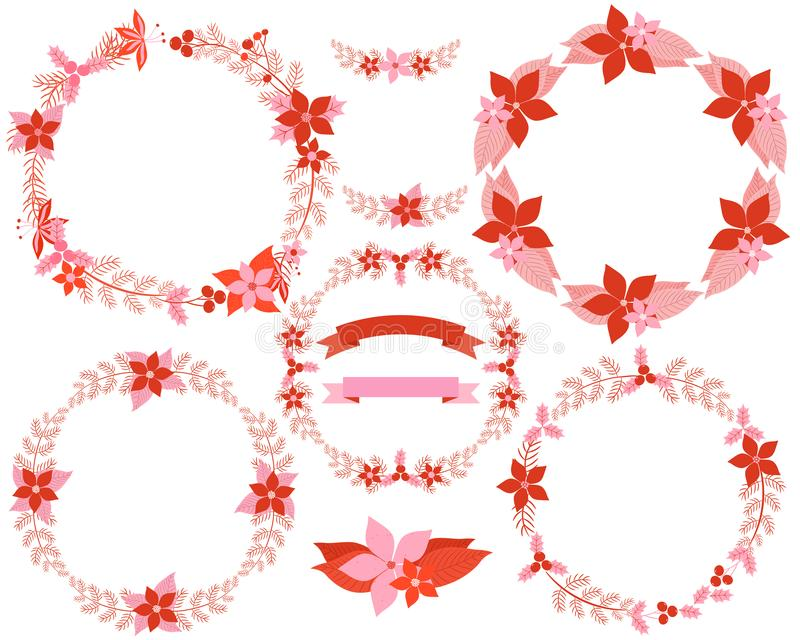 Set of beaitiful floral wreaths in red and pink colors for Christmas greeting cards and decor stock illustration