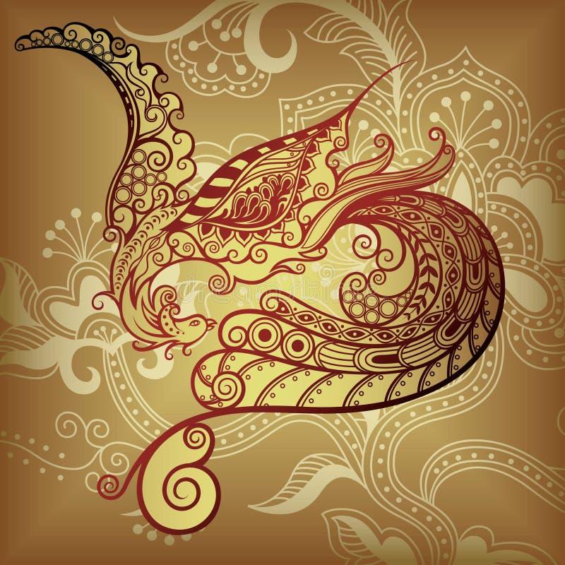 Floral y pájaro stock de ilustración