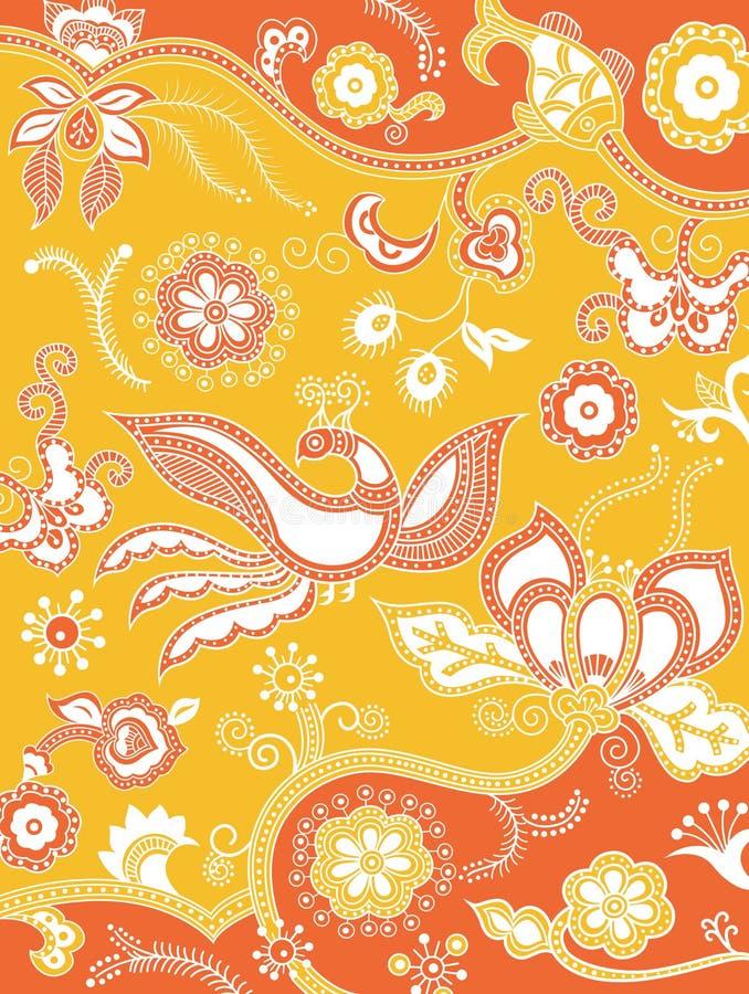 Floral y quetzal ilustración del vector