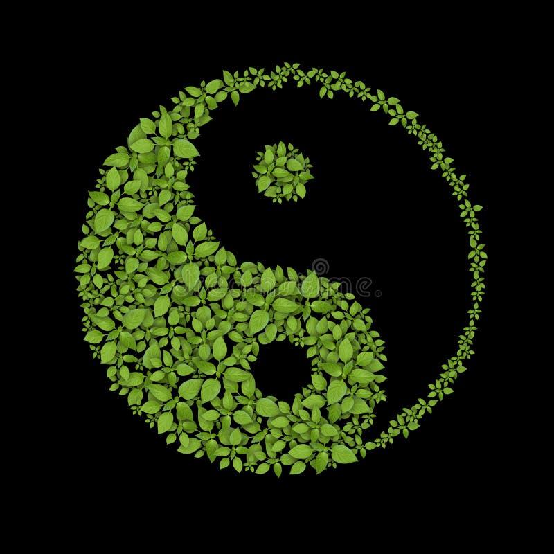 Floral yin yang symbol, natural harmonies icon. Floral yin yang symbol, natural harmonies sign stock illustration