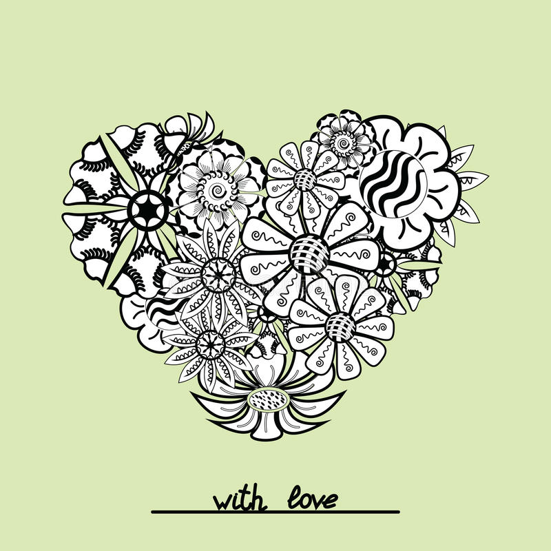 Floral zentangle heart object in vector. Hand draw vector illustration