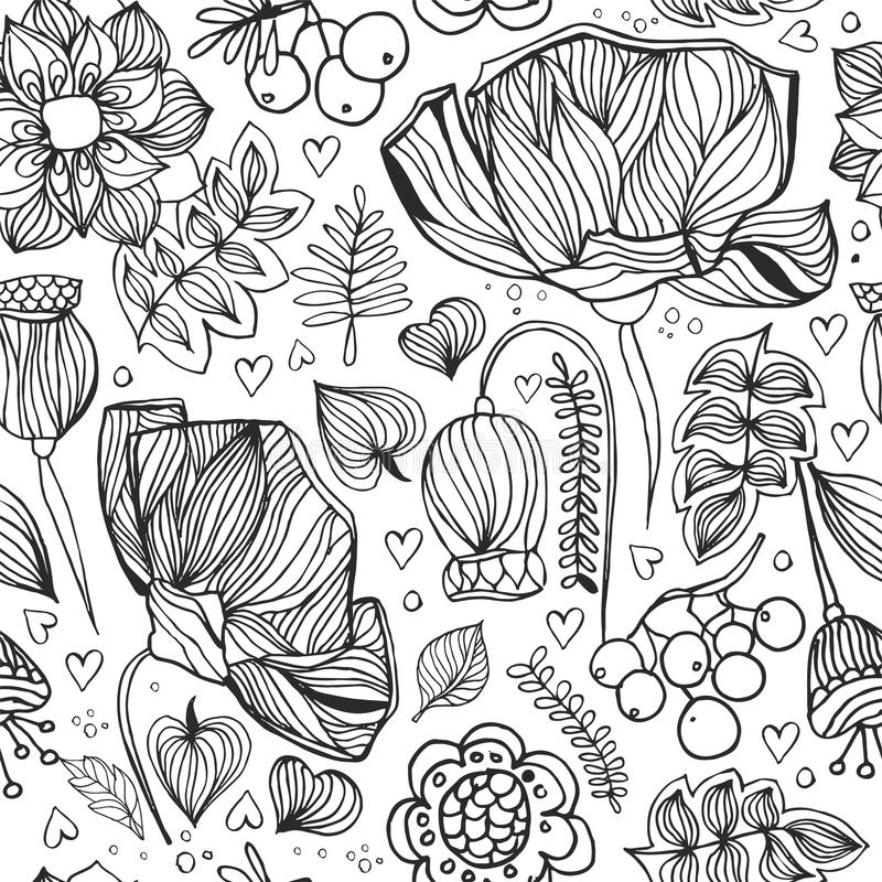 floral zentangle seamless pattern. Adult antistress coloring page. Vector illustration with poppy, leaves and rowan royalty free stock photo