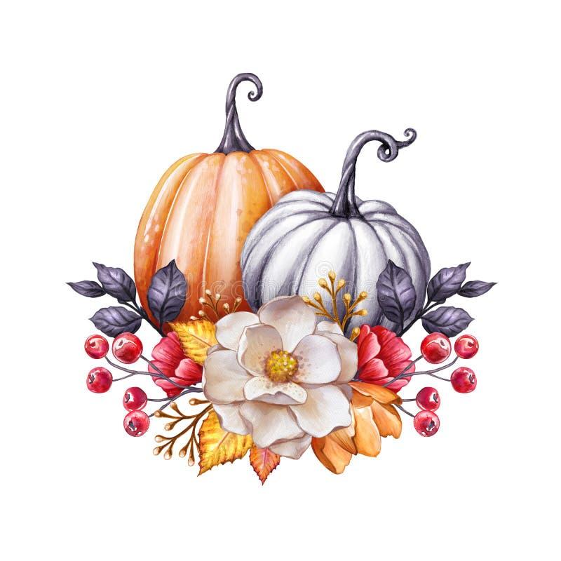 Florale pompoenen, Thanksgiving waterkleurillustratie, herfstbloemen, oogst, botanisch valdecor, feestelijke clipkunst geïsoleerd vector illustratie
