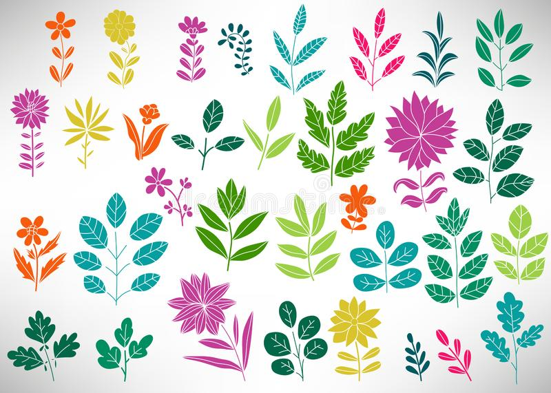 Floral Set of colorful doodle elements, tree branch, bush, plant, leaves, flowers, branches petals isolated on white. stock illustration