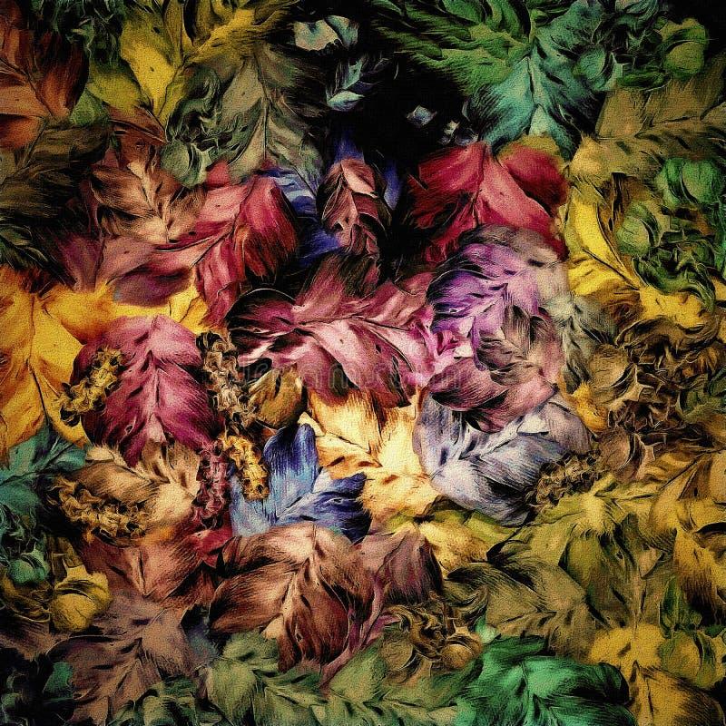 Florales abstractos, fondo del vintage, fragmento de los movimientos anchos texturizados de la pintura de la lona diseñan para el stock de ilustración