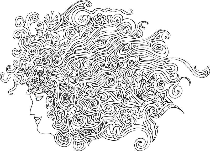 Floralhair illustration de vecteur