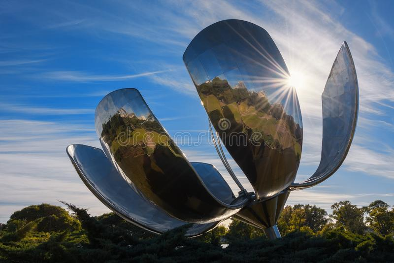 Floralis Generica - Buenos Aires - Argentina. Floralis Generica is a sculpture made of steel and aluminum located in Plaza de las Naciones Unidas in Buenos Aires stock image