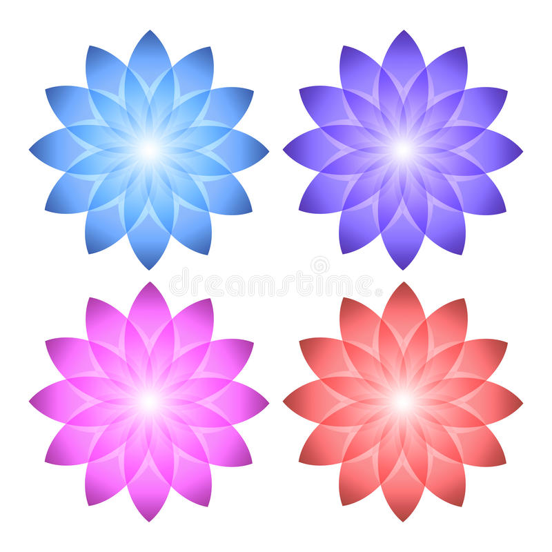 Florasatz Ikonenlogoblumen-Weißhintergrund lizenzfreie abbildung