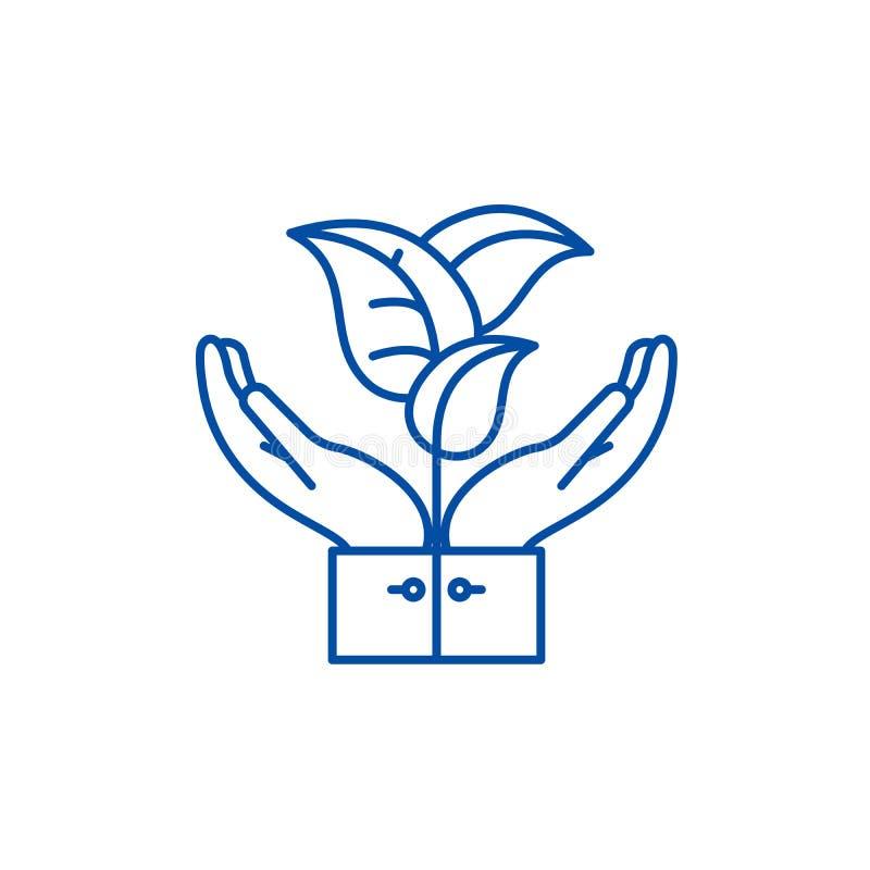 Floraservicelinje symbolsbegrepp Symbol för vektor för floraservice plant, tecken, översiktsillustration royaltyfri illustrationer