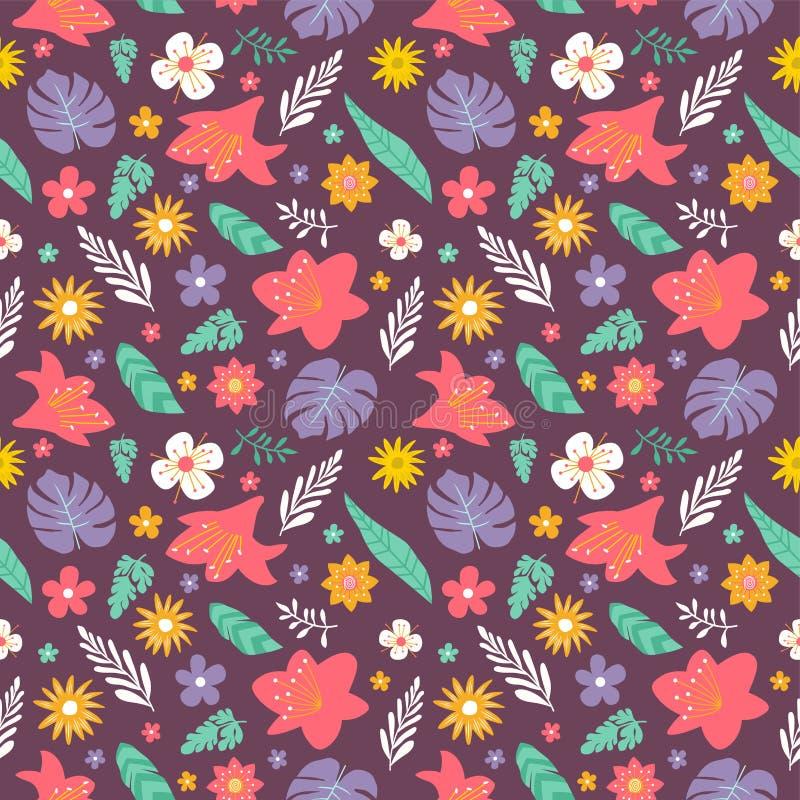 Flore et feuillages colorés coulisse arrière-plan de dessin sans fil style doodle photos stock