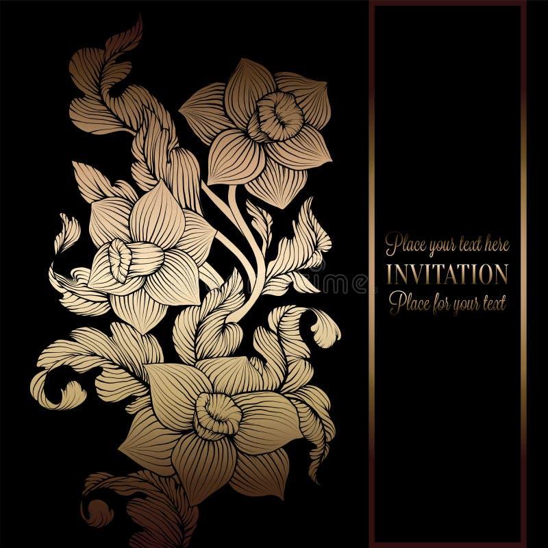Florealachtergrond met antiquiteit, luxe zwart en gouden uitstekend kader, victorian banner, de ornamenten van het narcissenbehan royalty-vrije illustratie
