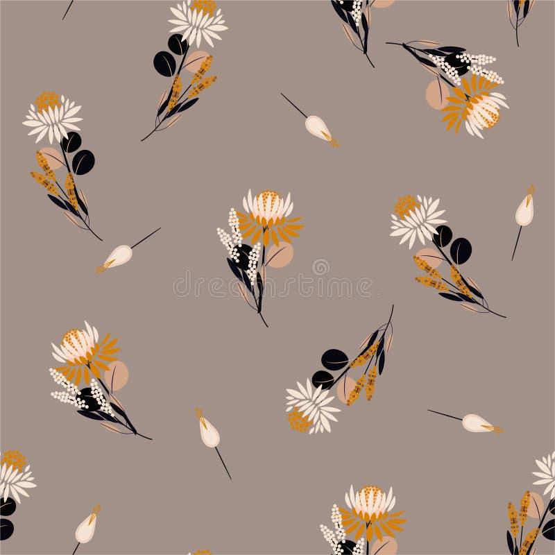 Floreale astratto isolato vettore senza cuciture d'annata e piante dei fiori del Protea del modello Elementi decorativi di disegn royalty illustrazione gratis