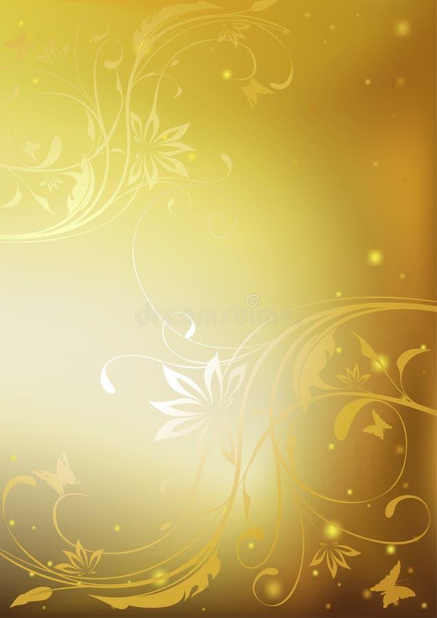 Floreale dorato illustrazione vettoriale